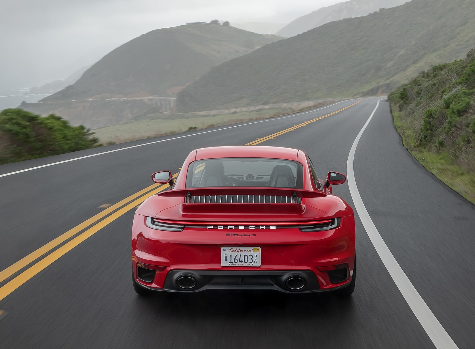 2021 Porsche 911 Turbo S Coupe (Color: Guards Red) Rear Wallpapers (6)