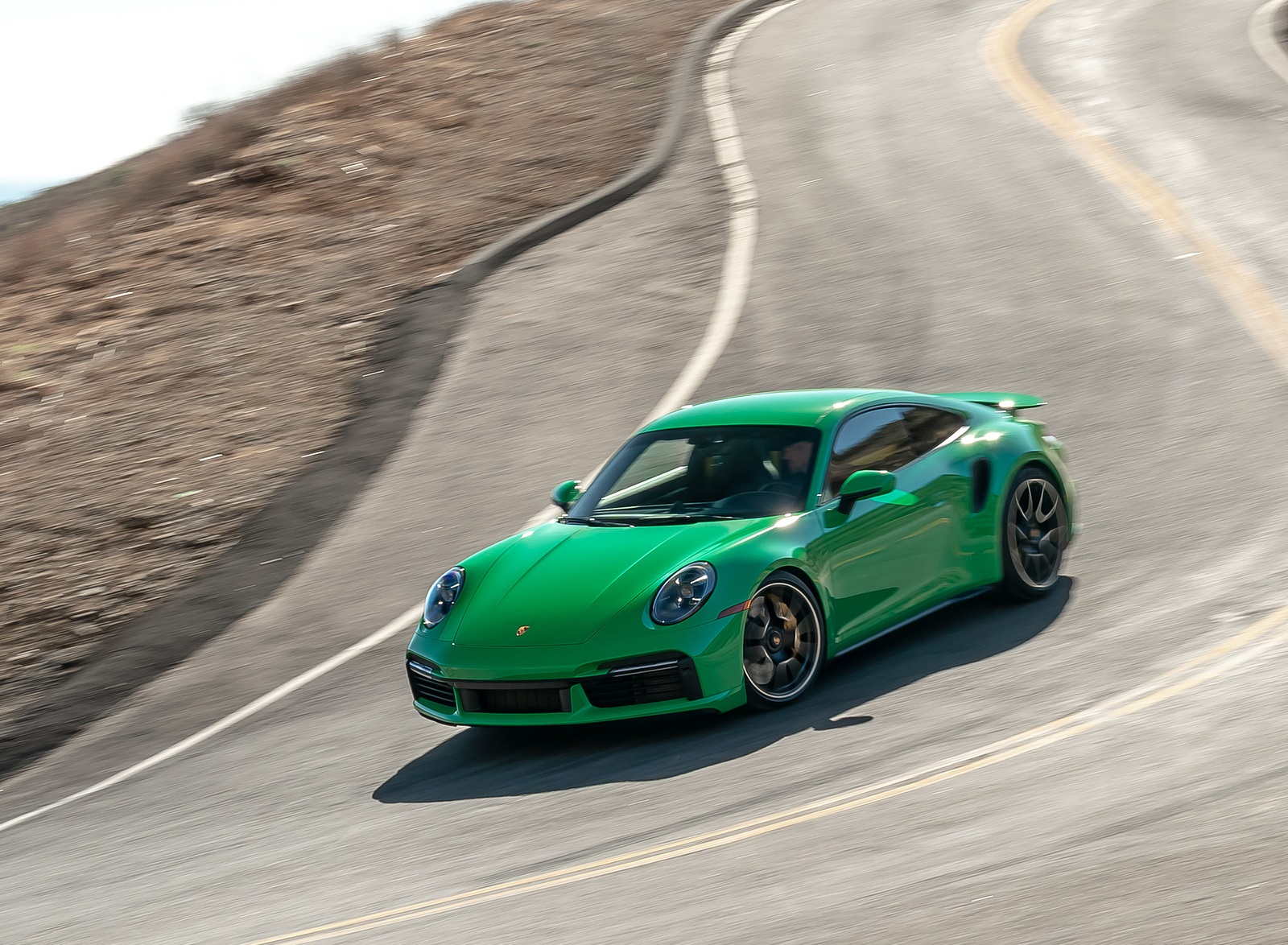 2021 Porsche 911 Turbo S Coupe (Color: Python Green) Front Three-Quarter Wallpapers (1)