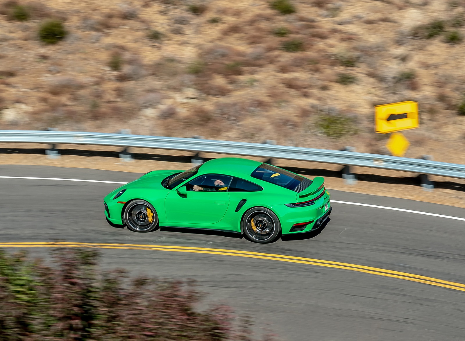 2021 Porsche 911 Turbo S Coupe (Color: Python Green) Side Wallpapers (2)