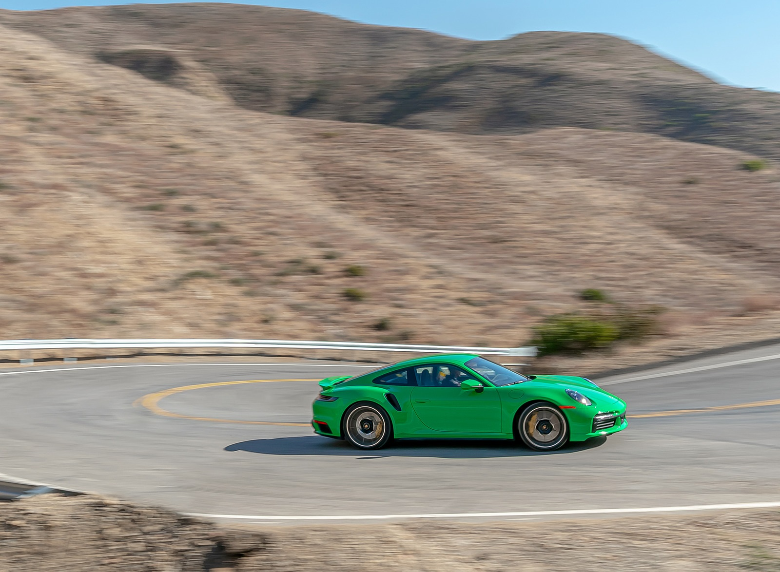 2021 Porsche 911 Turbo S Coupe (Color: Python Green) Side Wallpapers (6)