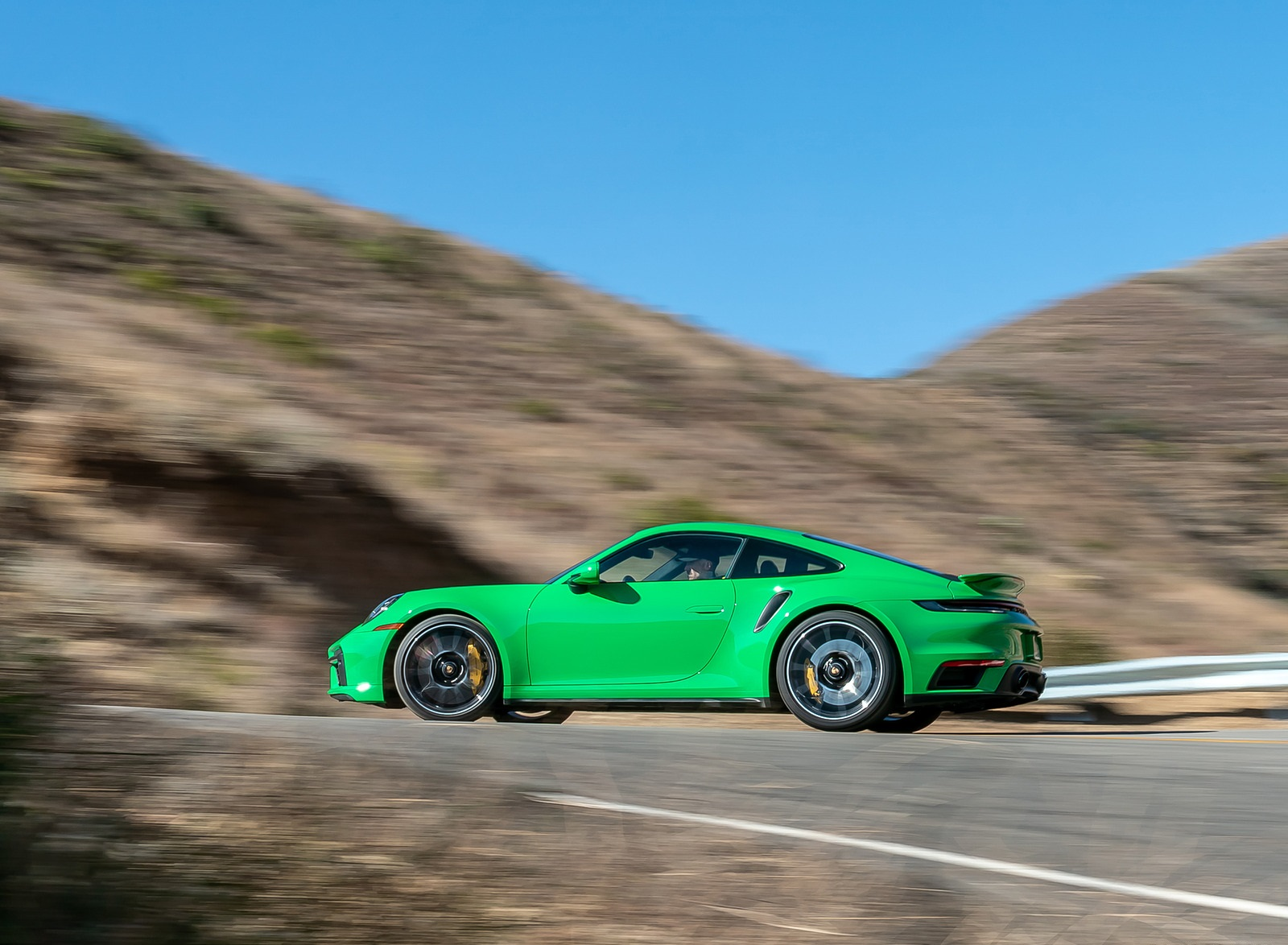 2021 Porsche 911 Turbo S Coupe (Color: Python Green) Side Wallpapers (7)