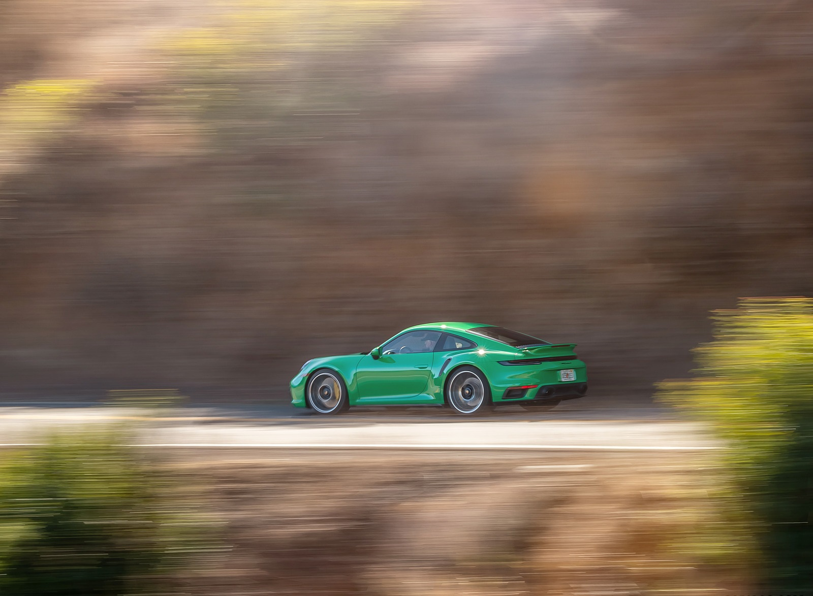 2021 Porsche 911 Turbo S Coupe (Color: Python Green) Side Wallpapers (8)