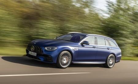 2021 Mercedes-AMG E 63 S Estate 4MATIC+ (Color: Designo Magno Brilliant Blue) Front Three-Quarter Wallpapers 450x275 (3)