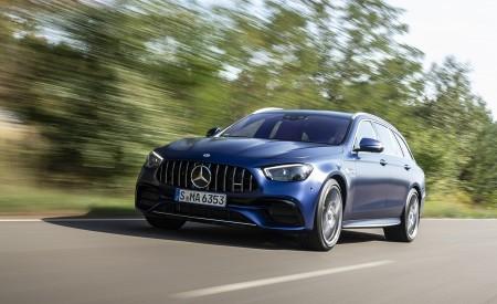 2021 Mercedes-AMG E 63 S Estate 4MATIC+ (Color: Designo Magno Brilliant Blue) Front Three-Quarter Wallpapers 450x275 (4)