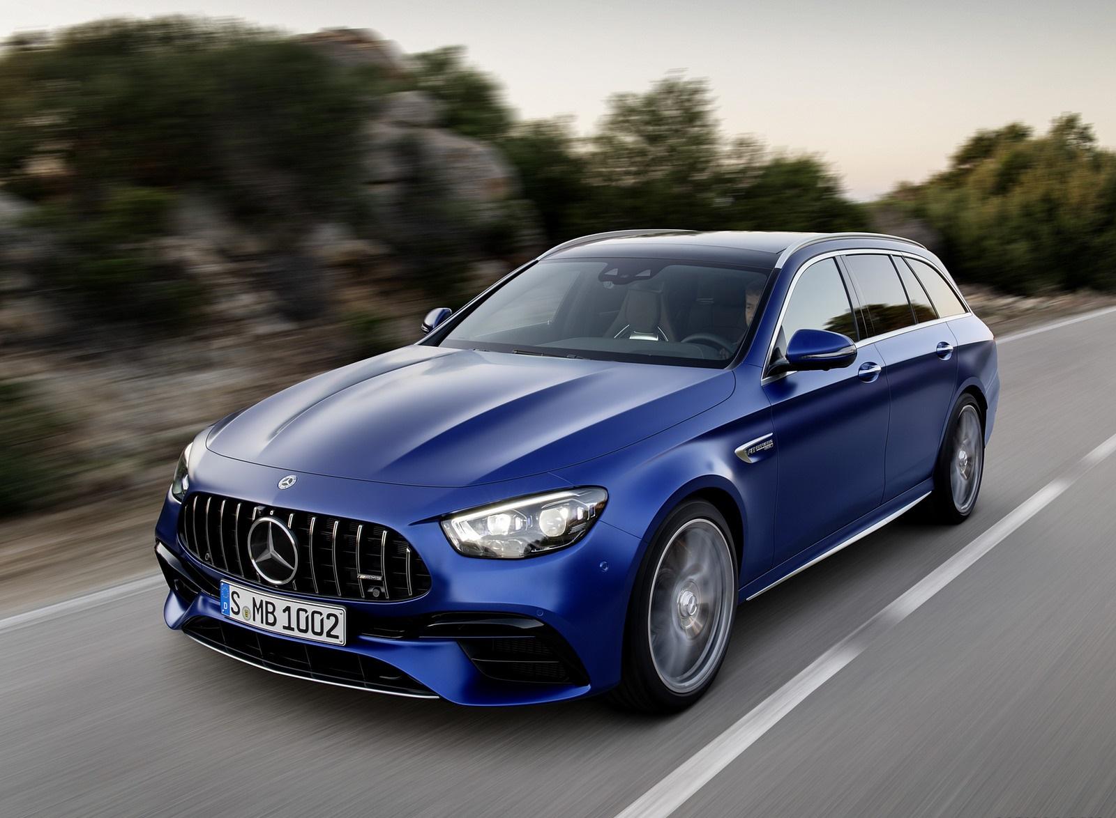 2021 Mercedes-AMG E 63 S Estate (Color: Brilliant Blue Magno) Front Three-Quarter Wallpapers (3)