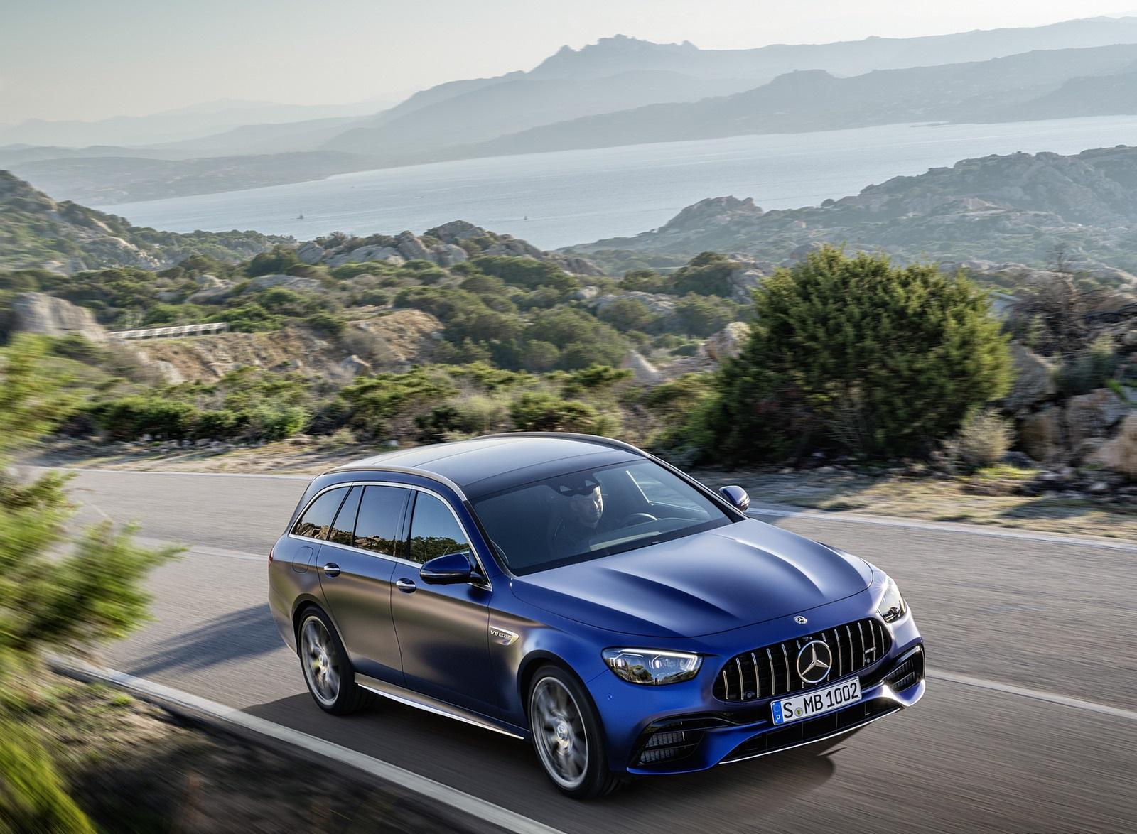 2021 Mercedes-AMG E 63 S Estate (Color: Brilliant Blue Magno) Front Three-Quarter Wallpapers (4)