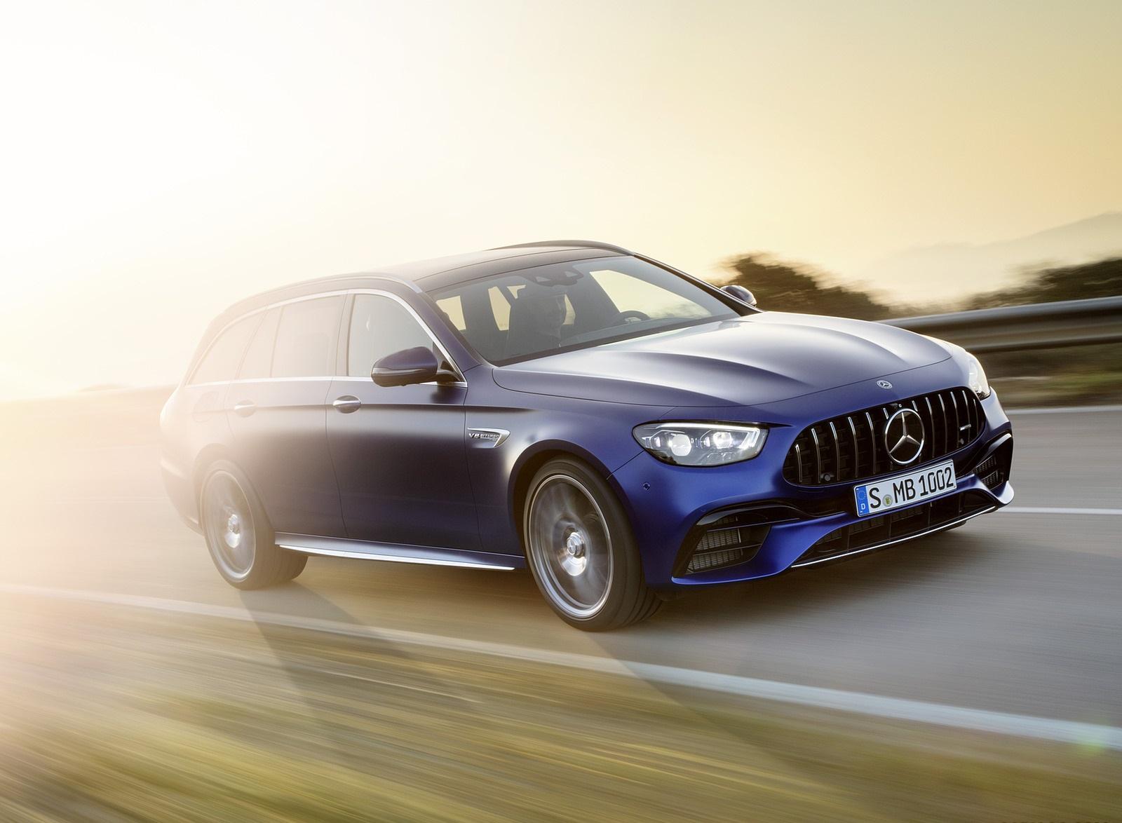 2021 Mercedes-AMG E 63 S Estate (Color: Brilliant Blue Magno) Front Three-Quarter Wallpapers (10)