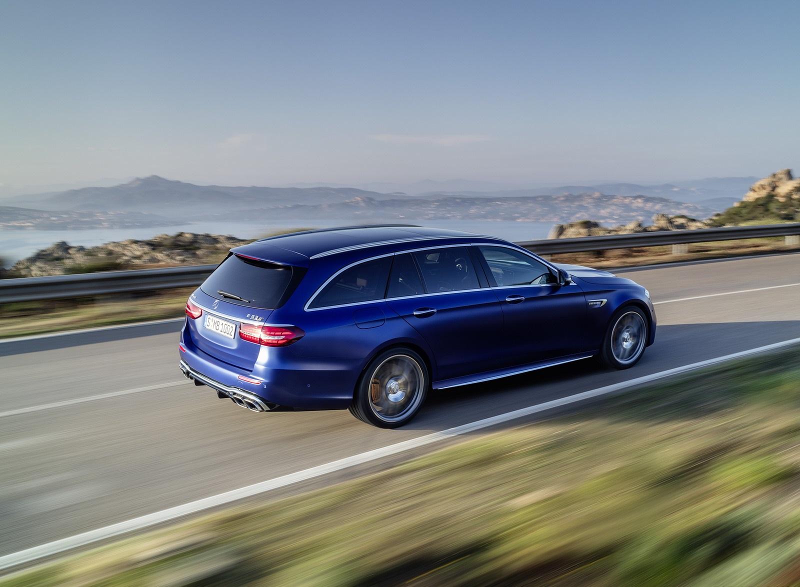 2021 Mercedes-AMG E 63 S Estate (Color: Brilliant Blue Magno) Rear Three-Quarter Wallpapers (5)