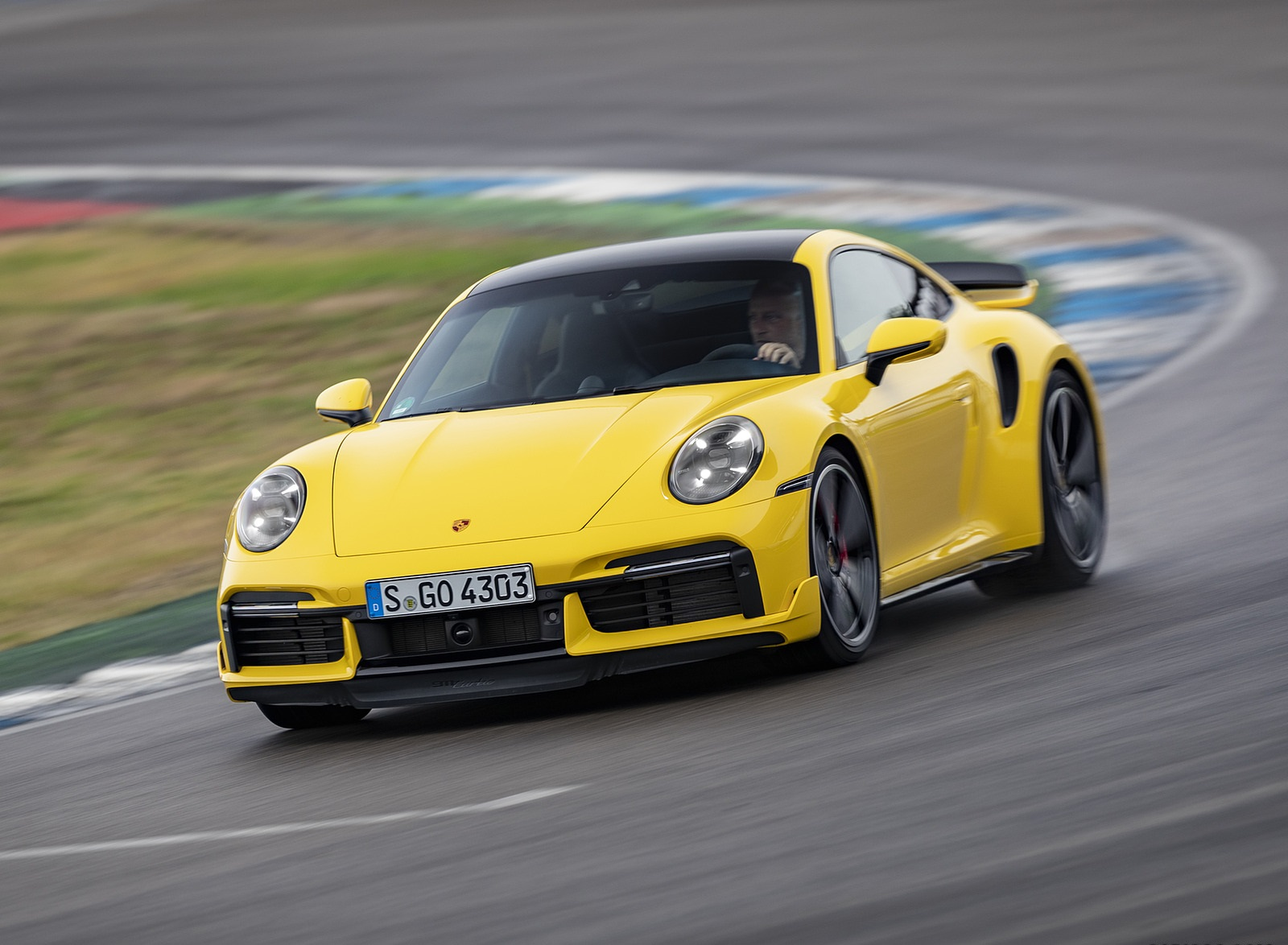 2021 Porsche 911 Turbo (Color: Racing Yellow) Front Wallpapers (1)