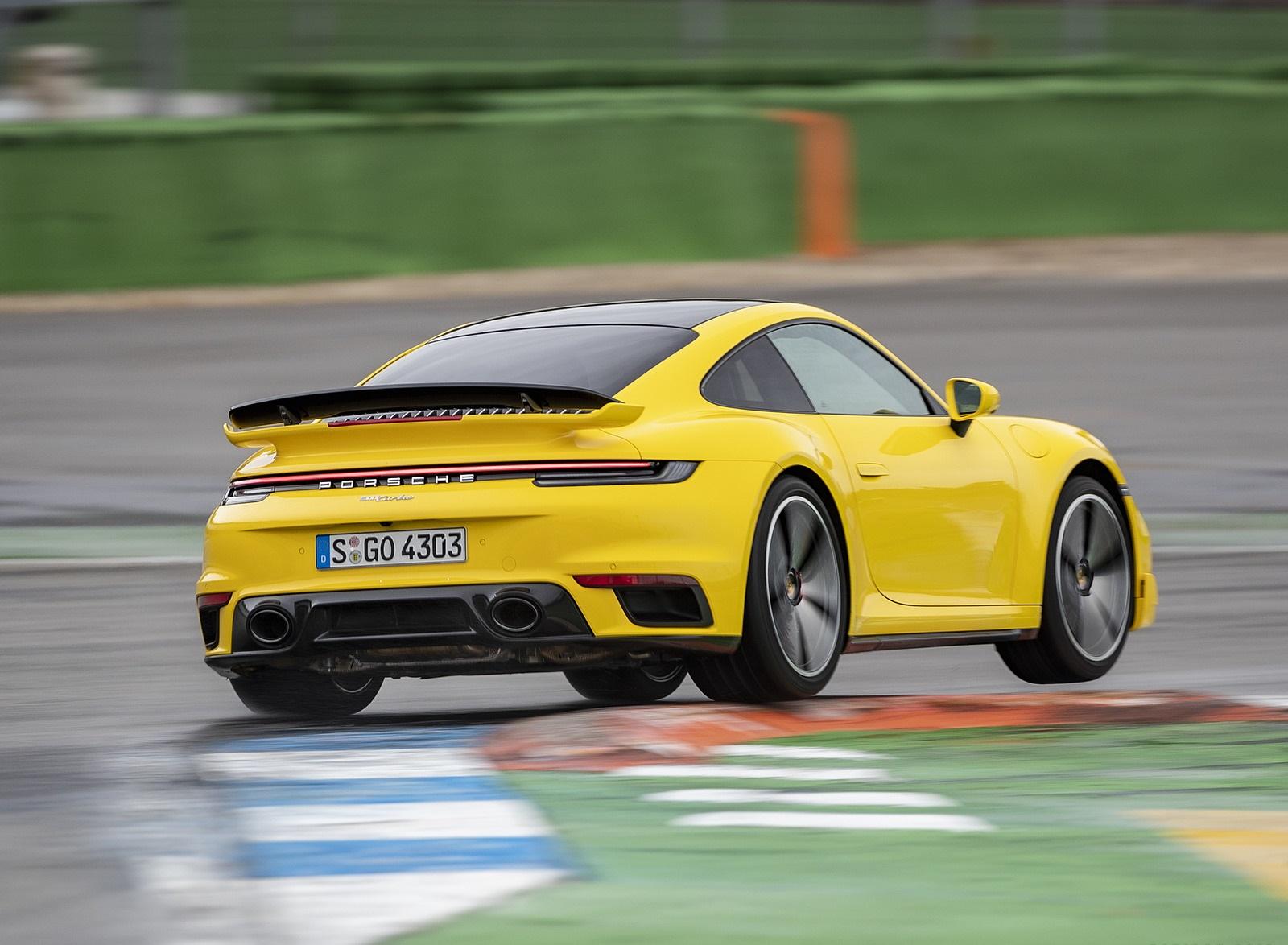 2021 Porsche 911 Turbo (Color: Racing Yellow) Rear Three-Quarter Wallpapers (6)