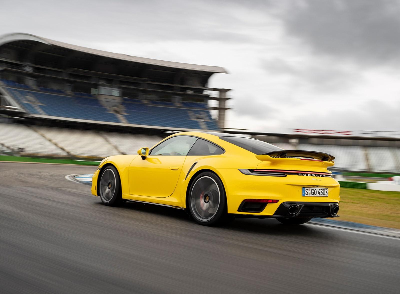 2021 Porsche 911 Turbo (Color: Racing Yellow) Rear Three-Quarter Wallpapers  (7)
