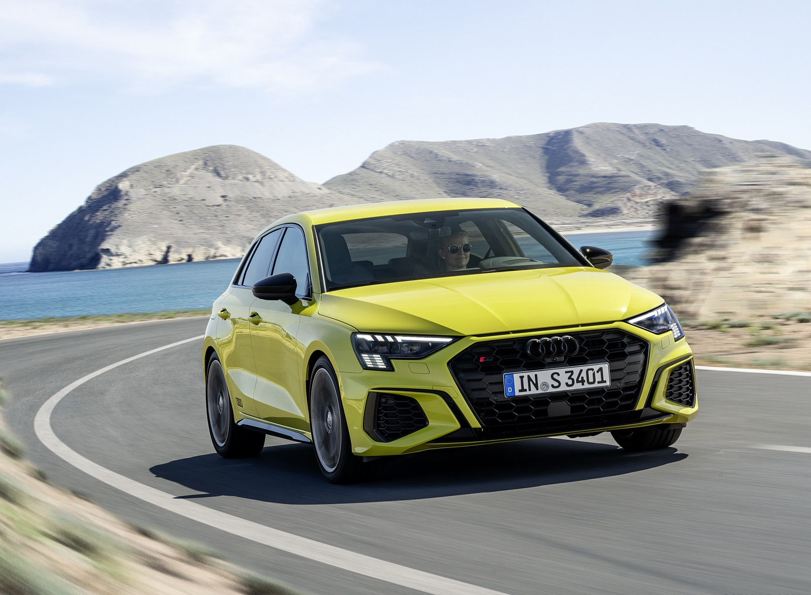 2021 Audi S3 Sportback (Color: Python Yellow) Front Three-Quarter Wallpapers (1)