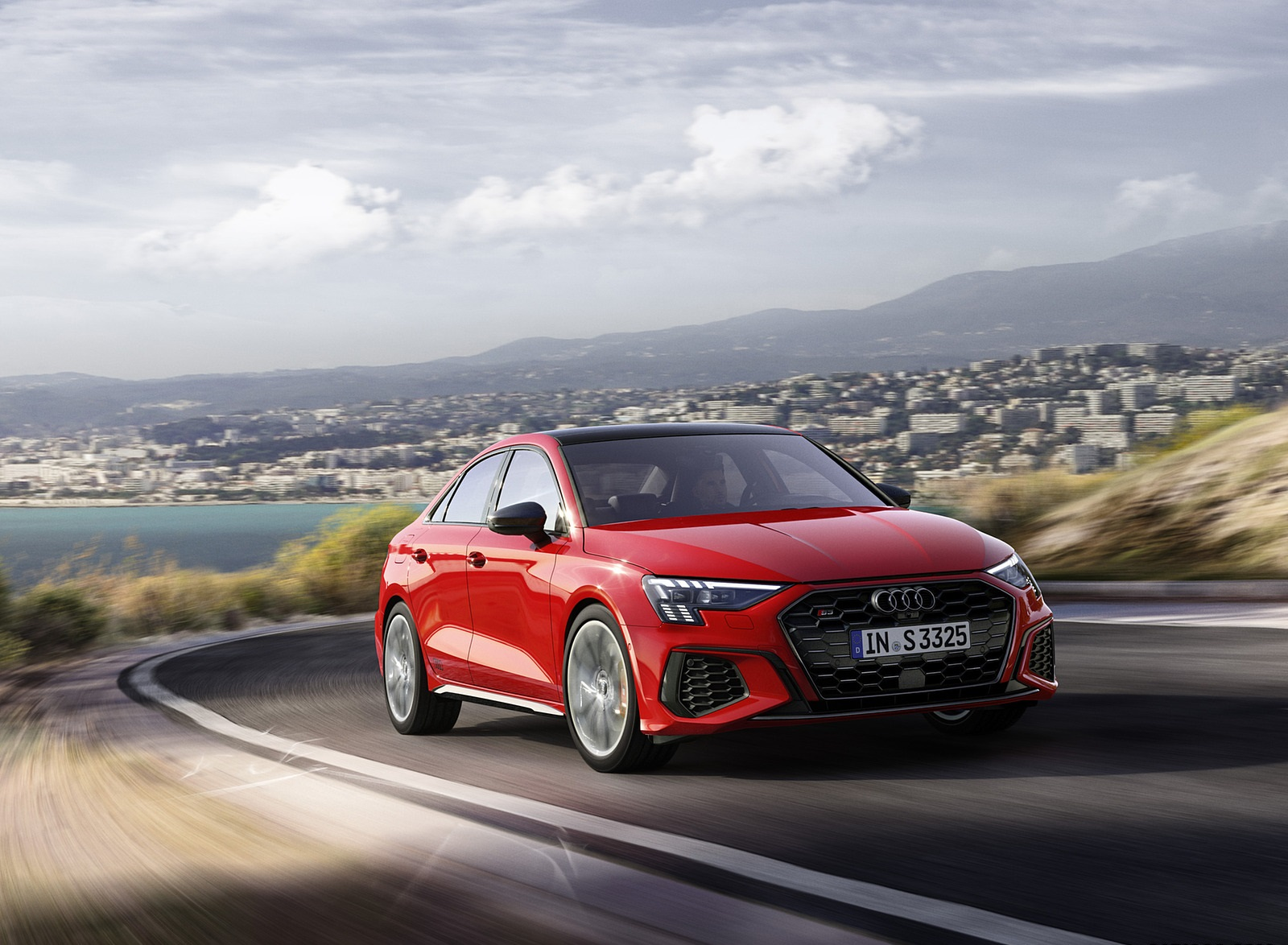2021 Audi S3 Sedan (Color: Tango Red) Front Three-Quarter Wallpapers (2)