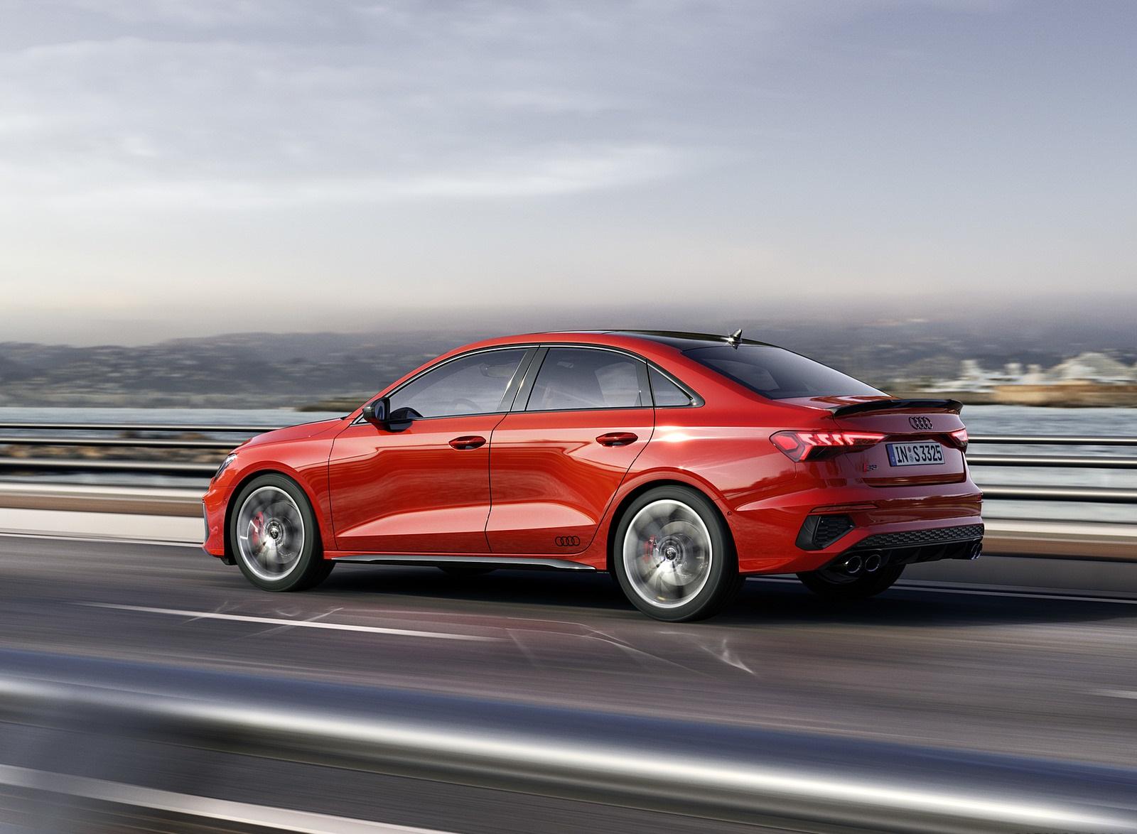 2021 Audi S3 Sedan (Color: Tango Red) Rear Three-Quarter Wallpapers (3)