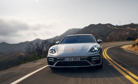 2021 Porsche Panamera Turbo S Sport Turismo (US-Spec; Color: GT Silver Metallic) Front Wallpapers 450x275 (2)