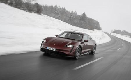 2021 Porsche Taycan (Color: Cherry Metallic) Front Three-Quarter Wallpapers 450x275 (98)