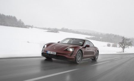 2021 Porsche Taycan (Color: Cherry Metallic) Front Three-Quarter Wallpapers 450x275 (111)