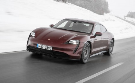 2021 Porsche Taycan (Color: Cherry Metallic) Front Three-Quarter Wallpapers 450x275 (99)