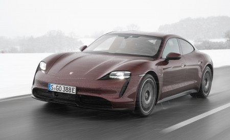 2021 Porsche Taycan (Color: Cherry Metallic) Front Three-Quarter Wallpapers 450x275 (112)