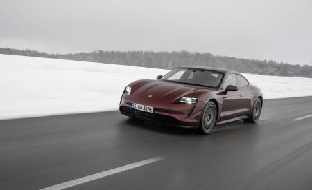 2021 Porsche Taycan (Color: Cherry Metallic) Front Three-Quarter Wallpapers 450x275 (101)