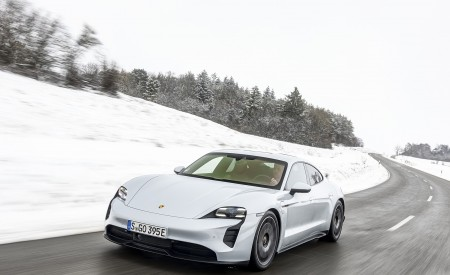 2021 Porsche Taycan (Color: Ice Grey Metallic) Front Three-Quarter Wallpapers 450x275 (54)