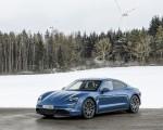 2021 Porsche Taycan (Color: Neptune Blue) Front Three-Quarter Wallpapers 150x120 (32)