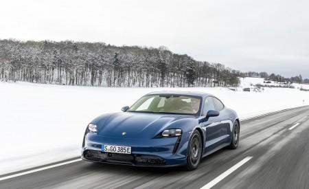 2021 Porsche Taycan (Color: Neptune Blue) Front Three-Quarter Wallpapers 450x275 (14)