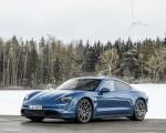 2021 Porsche Taycan (Color: Neptune Blue) Front Three-Quarter Wallpapers 150x120 (34)