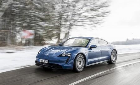 2021 Porsche Taycan (Color: Neptune Blue) Front Three-Quarter Wallpapers 450x275 (16)
