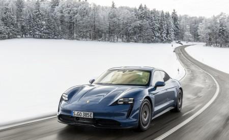 2021 Porsche Taycan (Color: Neptune Blue) Front Three-Quarter Wallpapers 450x275 (17)