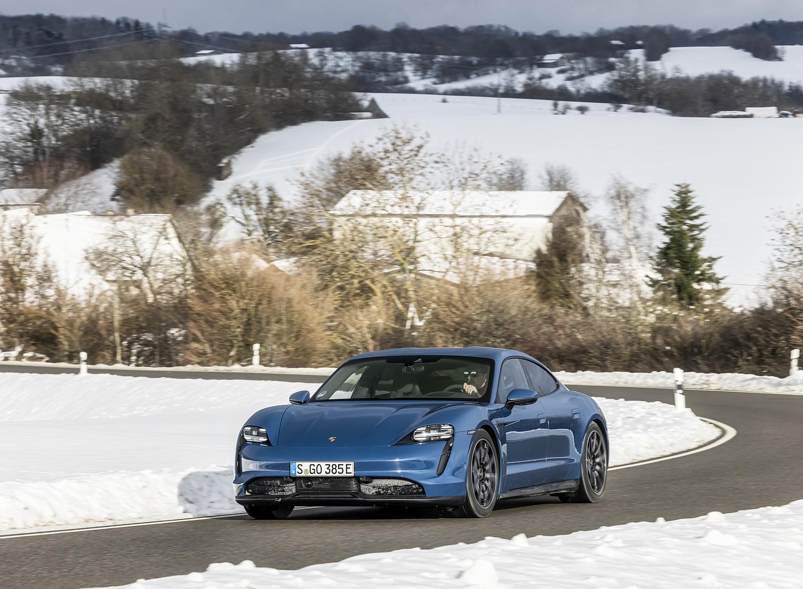 2021 Porsche Taycan (Color: Neptune Blue) Front Three-Quarter Wallpapers (3)