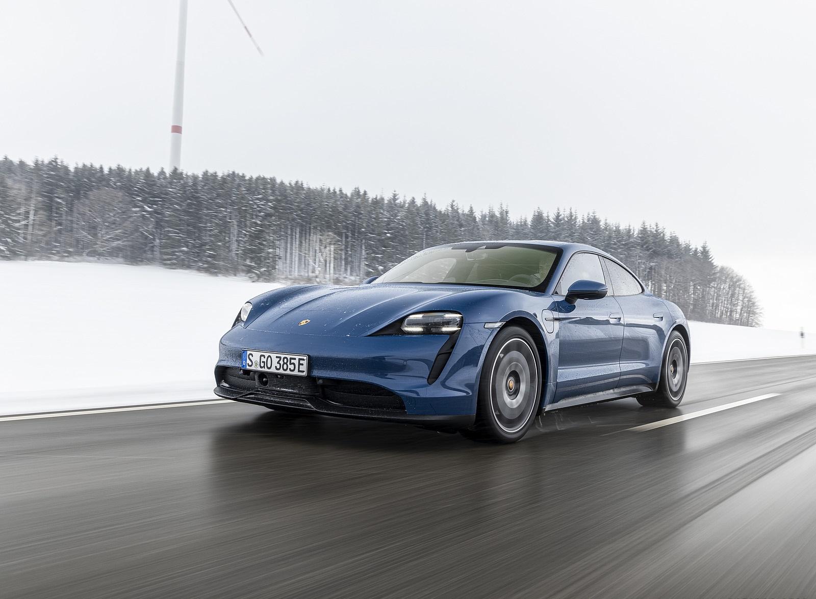 2021 Porsche Taycan (Color: Neptune Blue) Front Wallpapers (1)