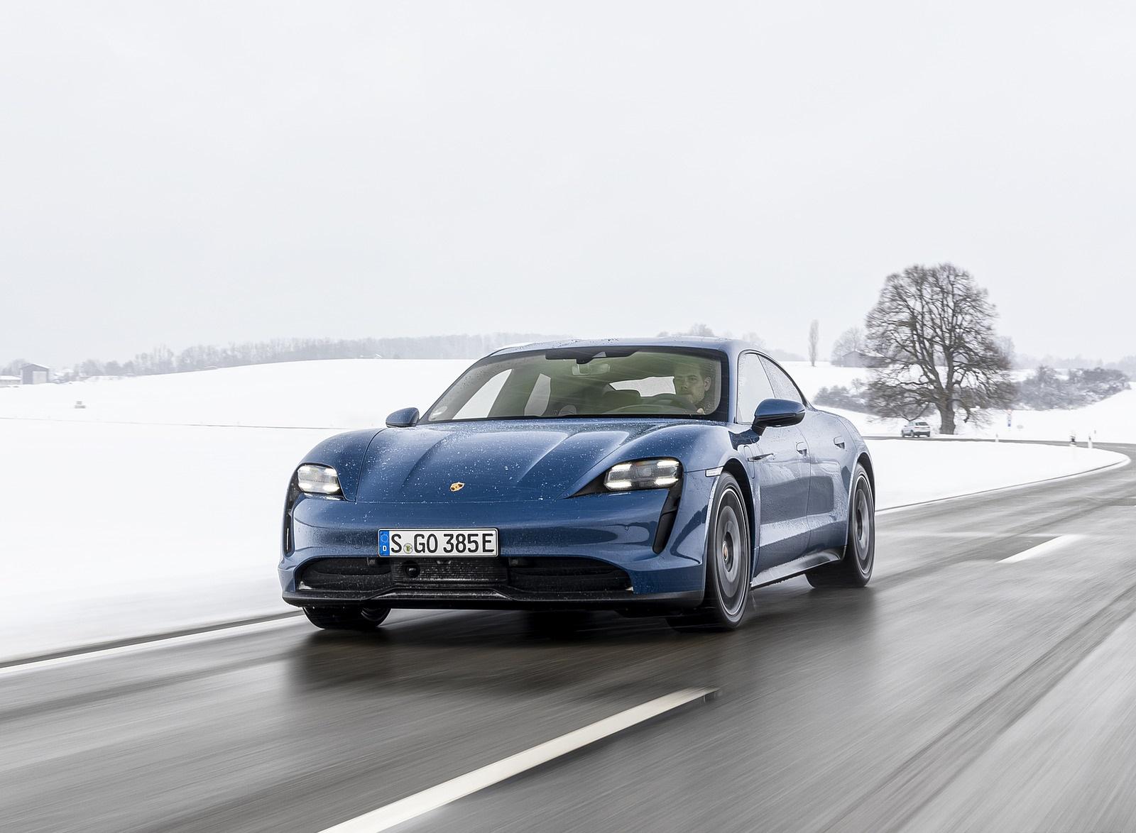 2021 Porsche Taycan (Color: Neptune Blue) Front Wallpapers (5)