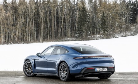 2021 Porsche Taycan (Color: Neptune Blue) Rear Three-Quarter Wallpapers 450x275 (35)