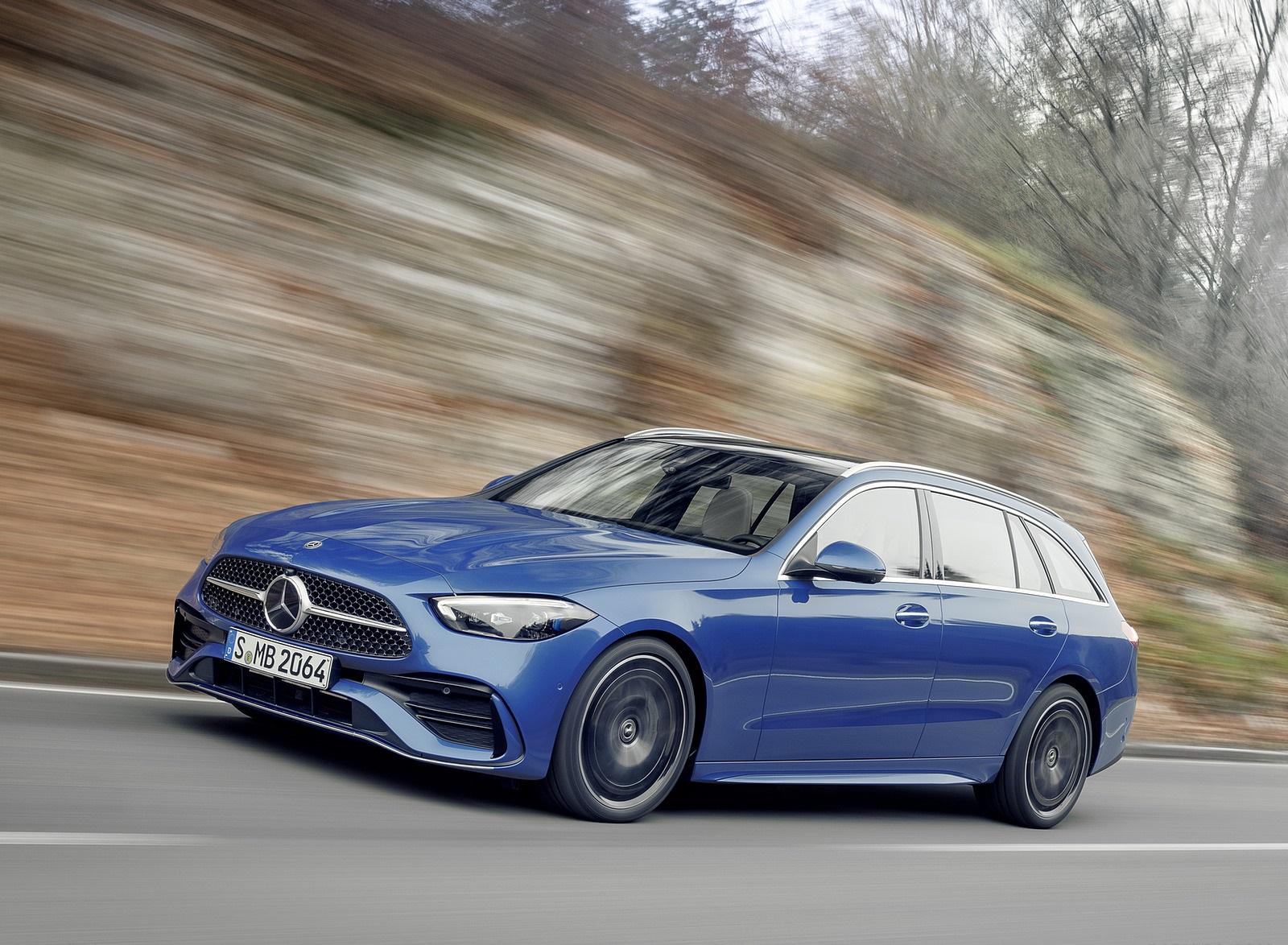 2022 Mercedes-Benz C-Class Wagon T-Model (Color: Spectral Blue) Front Three-Quarter Wallpapers (1)