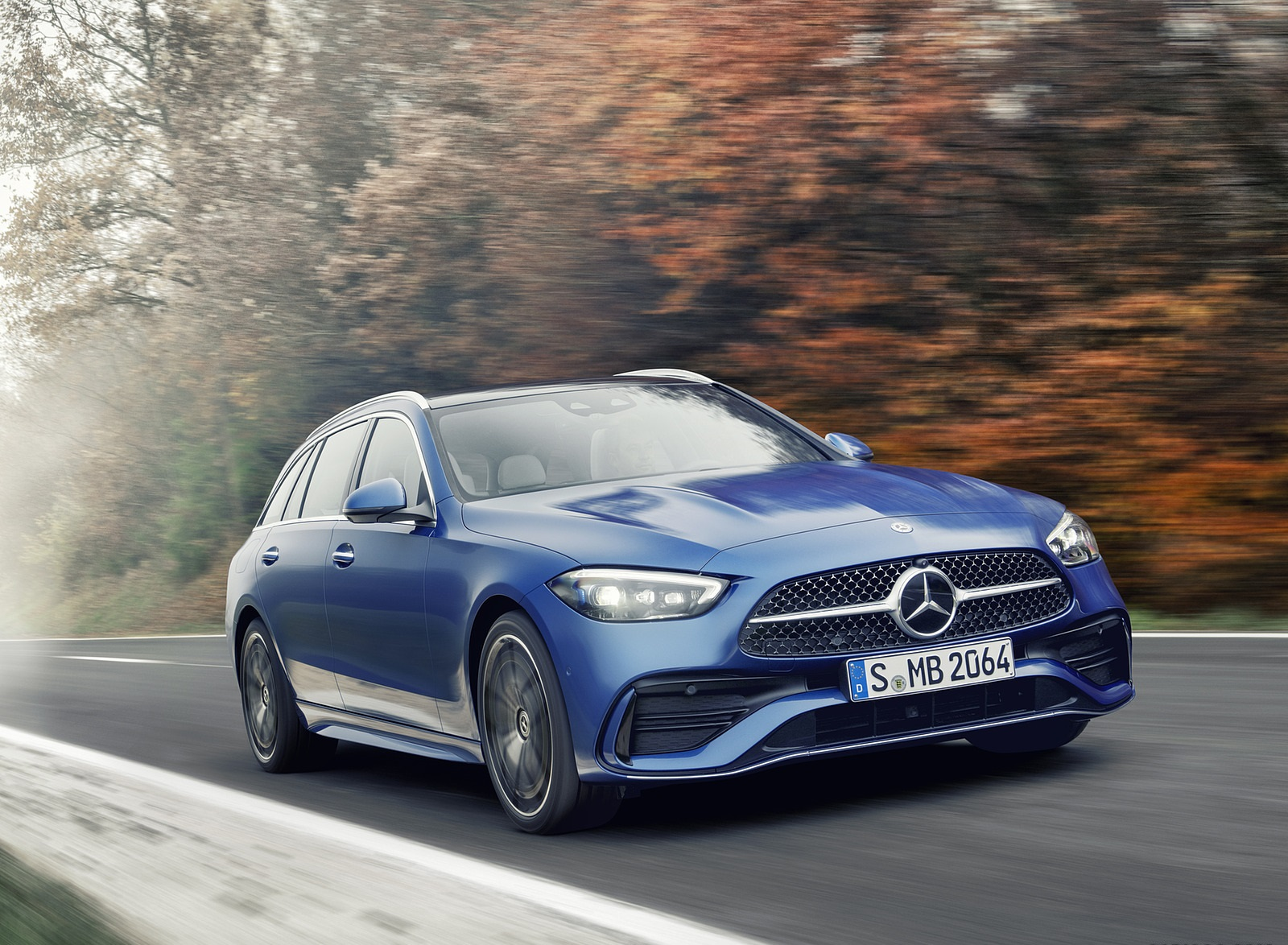 2022 Mercedes-Benz C-Class Wagon T-Model (Color: Spectral Blue) Front Wallpapers  (2)