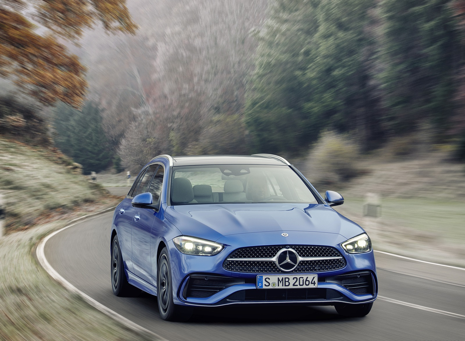 2022 Mercedes-Benz C-Class Wagon T-Model (Color: Spectral Blue) Front Wallpapers (3)