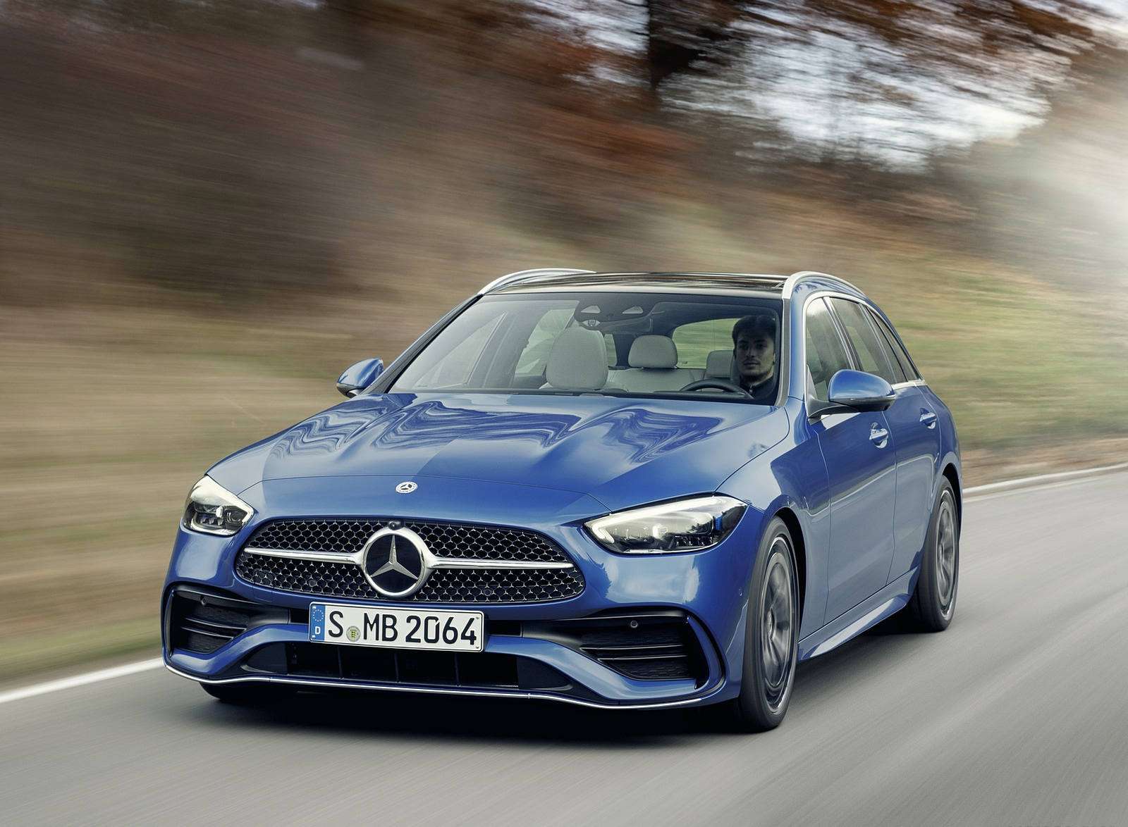 2022 Mercedes-Benz C-Class Wagon T-Model (Color: Spectral Blue) Front Wallpapers (5)