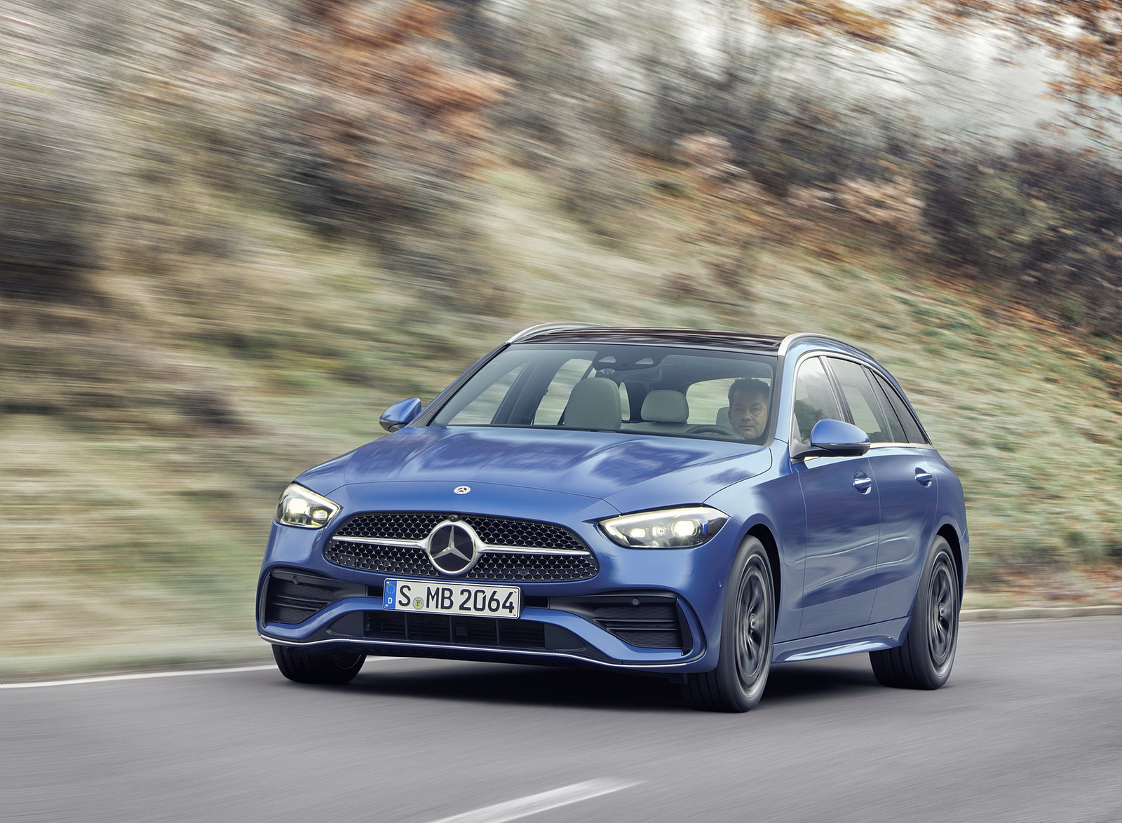 2022 Mercedes-Benz C-Class Wagon T-Model (Color: Spectral Blue) Front Wallpapers (8)