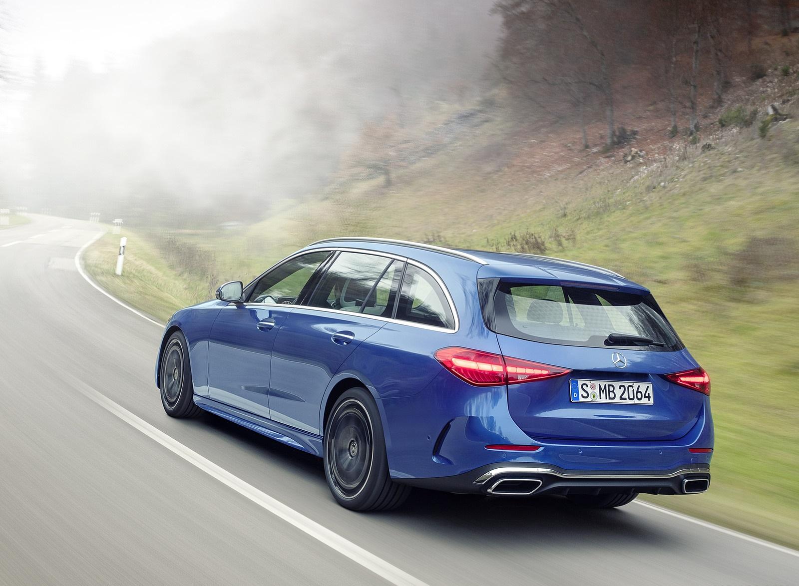 2022 Mercedes-Benz C-Class Wagon T-Model (Color: Spectral Blue) Rear Three-Quarter Wallpapers (6)