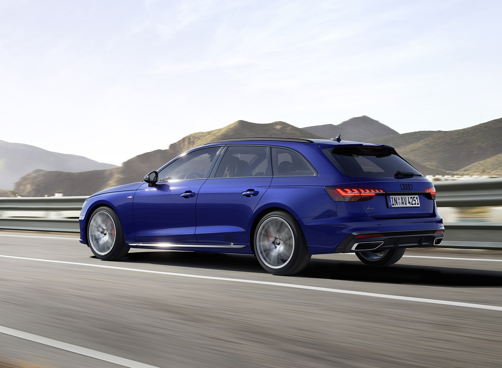 2022 Audi A4 Avant S Line Competition Plus (Color: Navarra Blue Metallic) Rear Three-Quarter Wallpapers  (2)