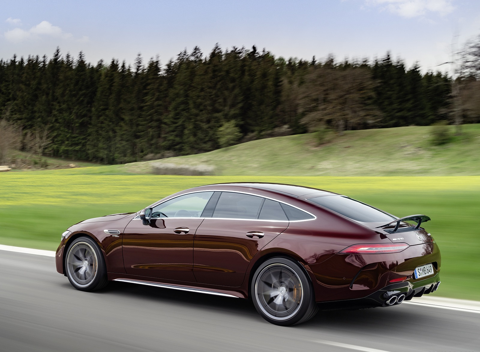 2022 Mercedes-AMG GT 53 4MATIC+ 4-Door Coupe (Color: Rubellite Red) Rear Three-Quarter Wallpapers (4)