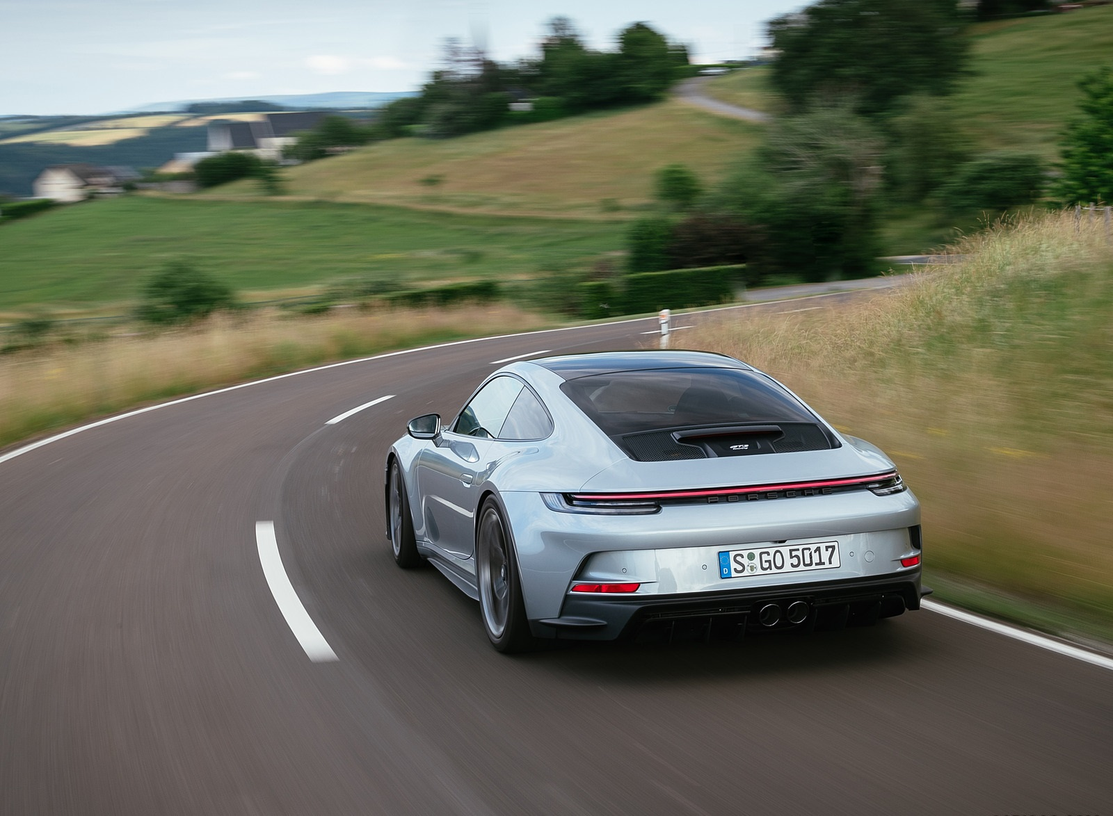 2022 Porsche 911 GT3 with Touring Package (PDK; Color: Dolomite Silver Metallic) Rear Three-Quarter Wallpapers (10)