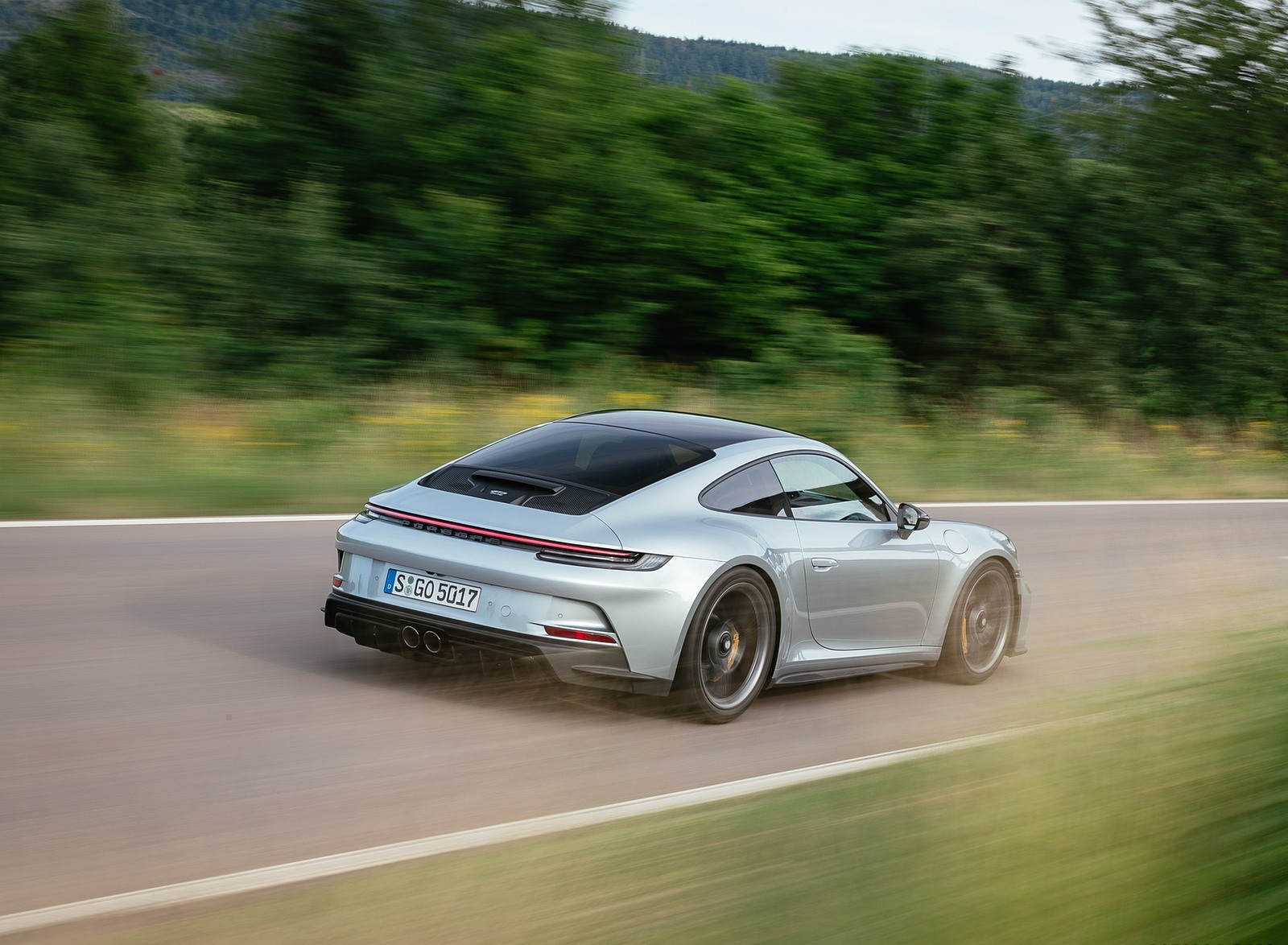 2022 Porsche 911 GT3 with Touring Package (PDK; Color: Dolomite Silver Metallic) Rear Three-Quarter Wallpapers (6)