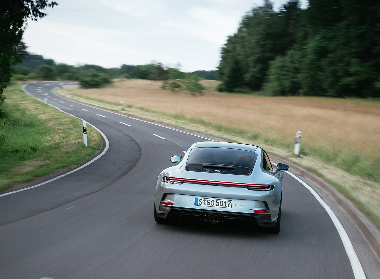 2022 Porsche 911 GT3 with Touring Package (PDK; Color: Dolomite Silver Metallic) Rear Wallpapers (8)
