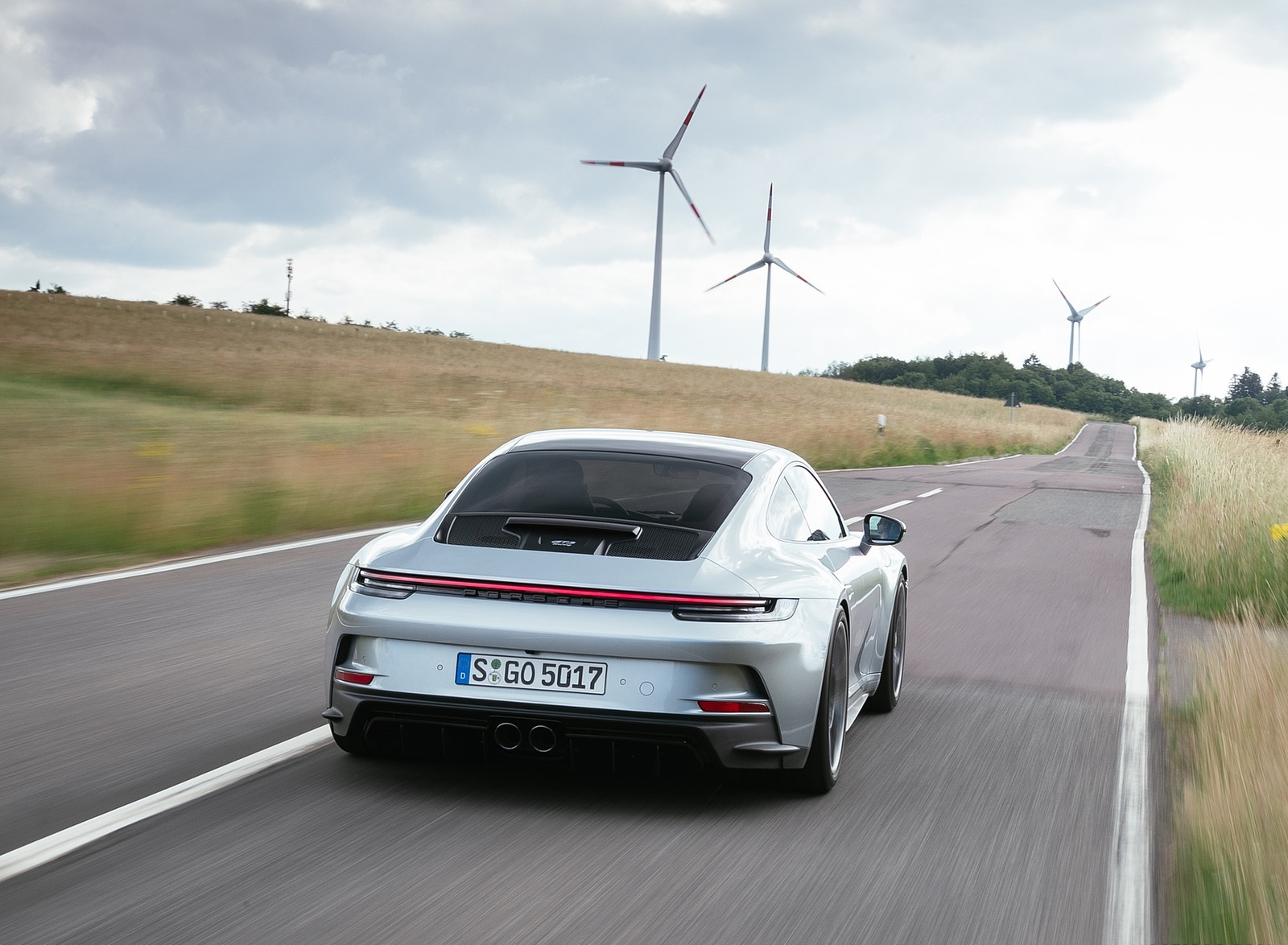 2022 Porsche 911 GT3 with Touring Package (PDK; Color: Dolomite Silver Metallic) Rear Wallpapers (5)