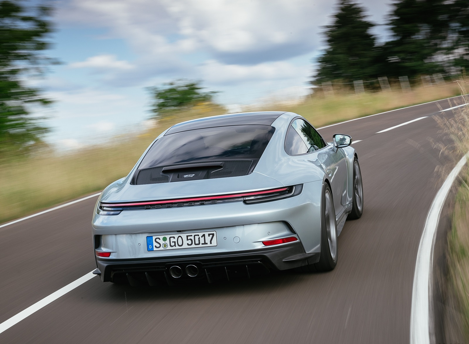 2022 Porsche 911 GT3 with Touring Package (PDK; Color: Dolomite Silver Metallic) Rear Wallpapers (3)