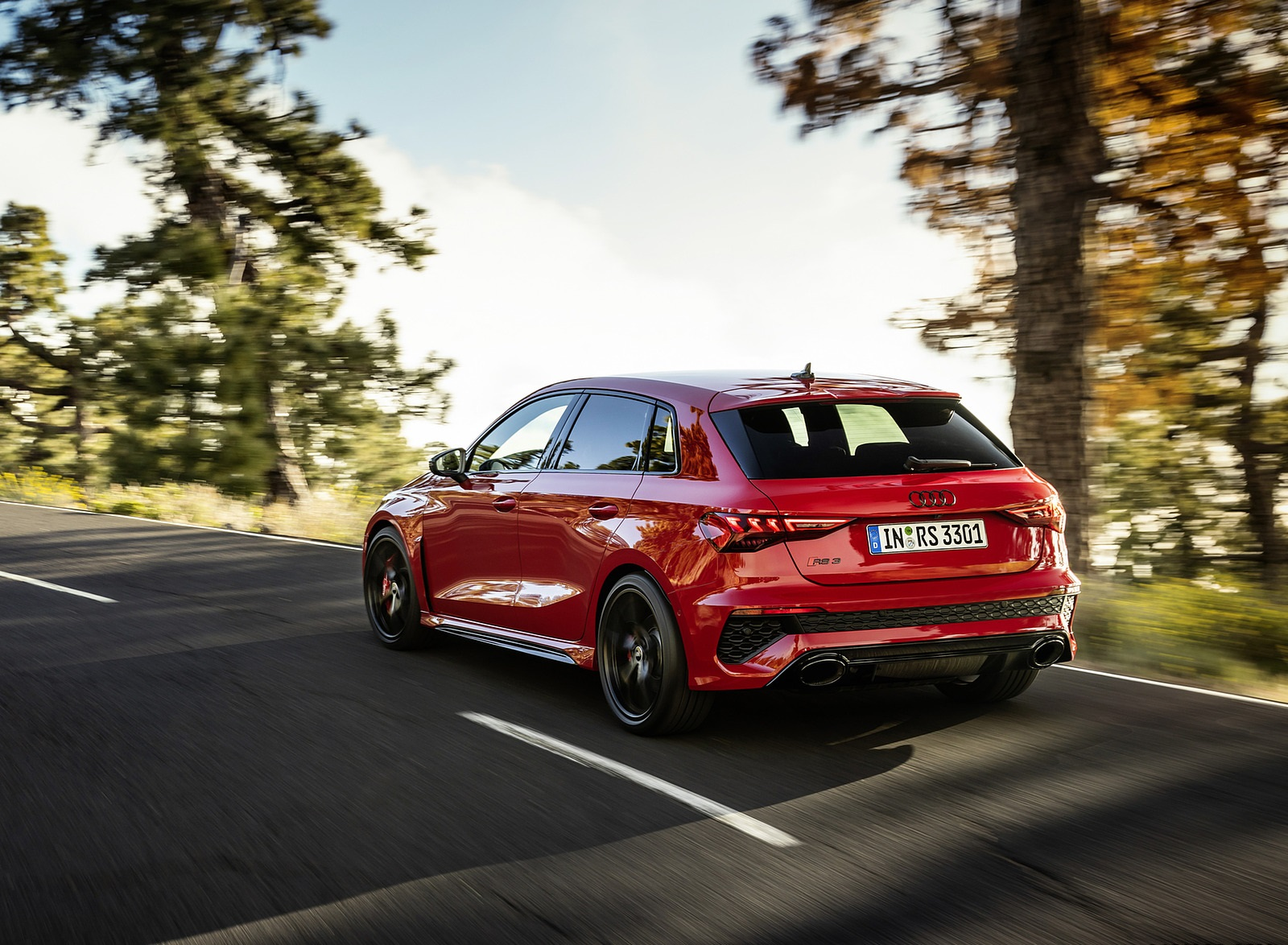 2022 Audi RS3 Sportback (Color: Tango Red) Rear Three-Quarter Wallpapers (2)