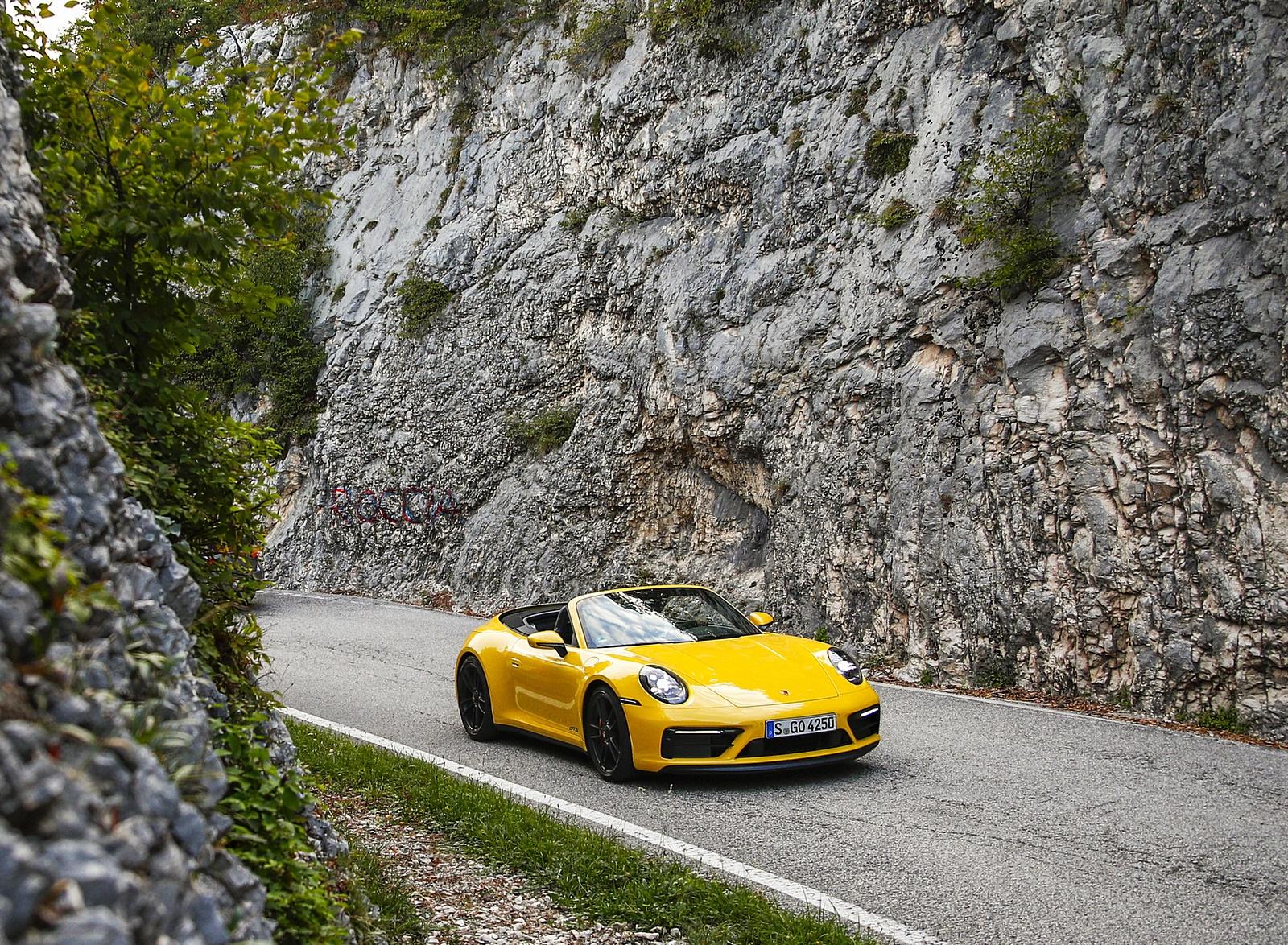 2022 Porsche 911 Carrera GTS Cabriolet (Color: Racing Yellow) Front Three-Quarter Wallpapers (7)