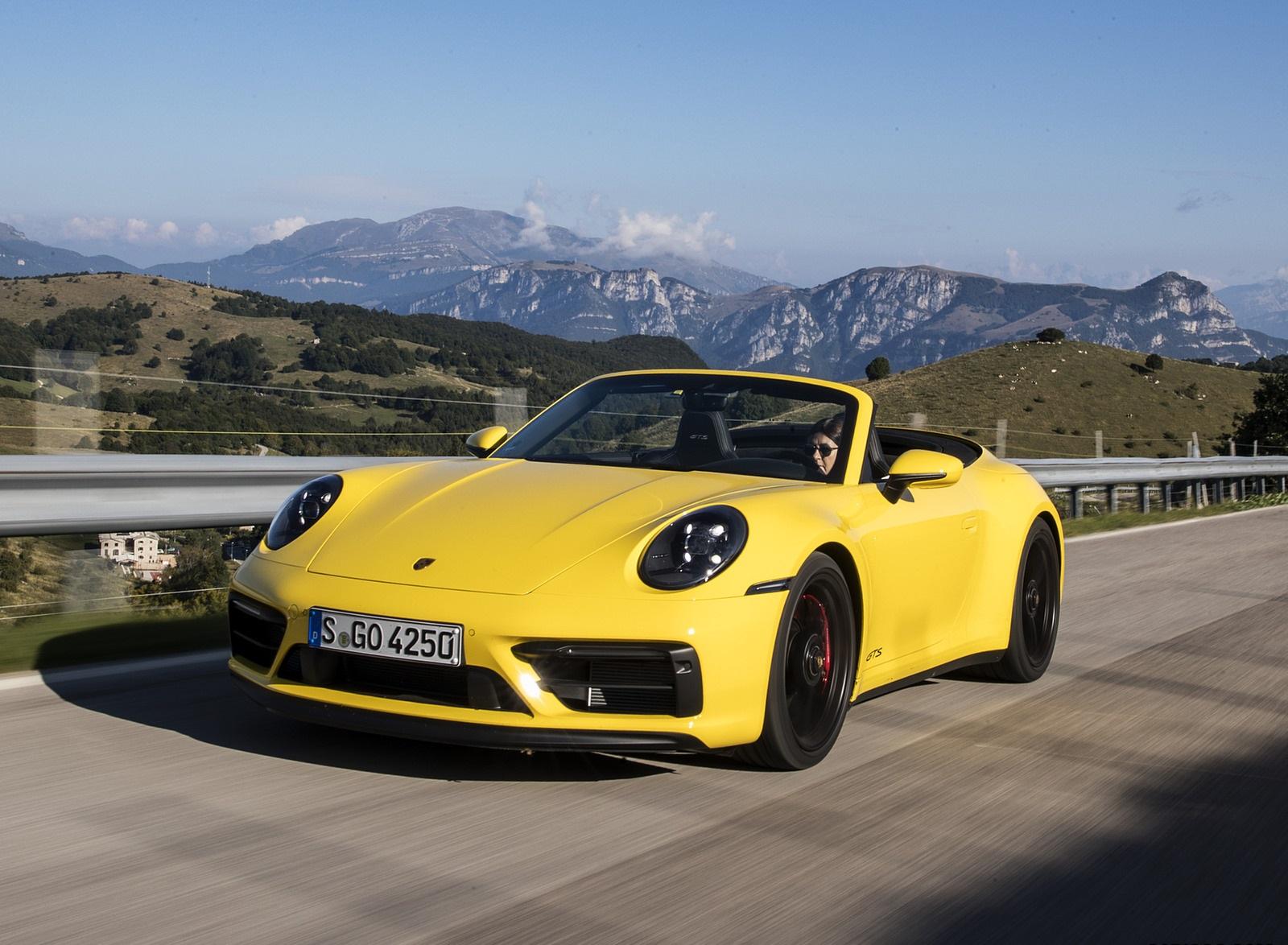 2022 Porsche 911 Carrera GTS Cabriolet (Color: Racing Yellow) Front Three-Quarter Wallpapers (1)
